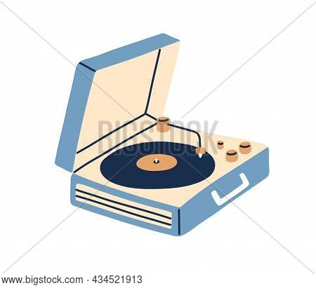Portable Turntable With Vinyl Playing. Retro Music Record Player In Suitcase Of 50s. Old Gramophone