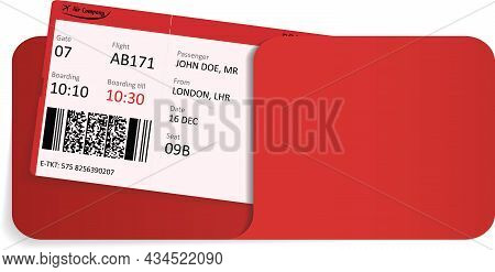 Vector Illustration Of Airline Ticket Or Boarding Pass Inside Of Envelope.