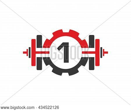 Fitness Gym Logo On Letter 1. Fitness Club Icon With Exercising Equipment. Initial Alphabet Letter 1