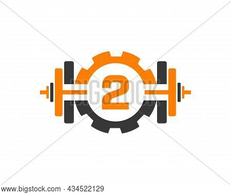 Fitness Gym Logo On Letter 2. Fitness Club Icon With Exercising Equipment. Initial Alphabet Letter 2