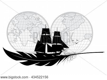 Vector Illustration With Tall Ship, Feather And Map. Sea Travel And Maritime Adventures.