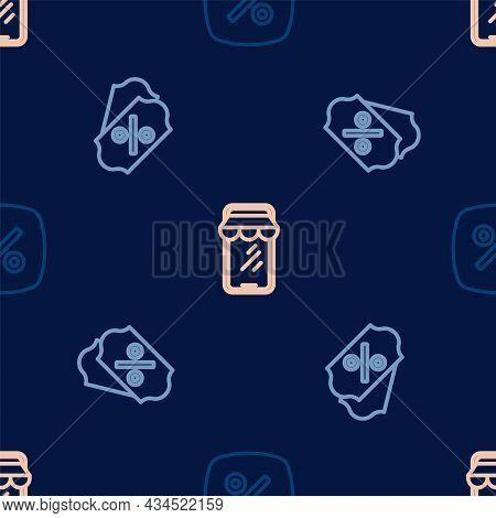 Set Line Discount Percent Tag, And Online Shopping On Phone On Seamless Pattern. Vector