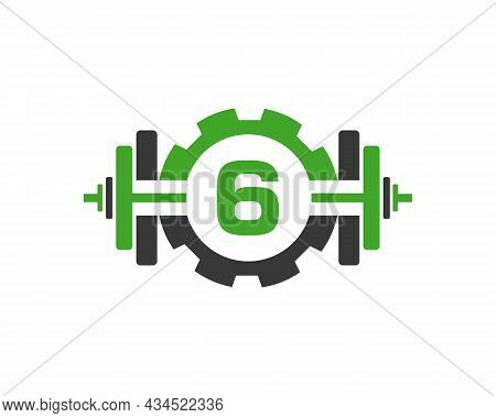Fitness Gym Logo On Letter 6. Fitness Club Icon With Exercising Equipment. Initial Alphabet Letter 6