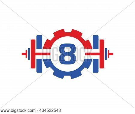 Fitness Gym Logo On Letter 8. Fitness Club Icon With Exercising Equipment. Initial Alphabet Letter 8