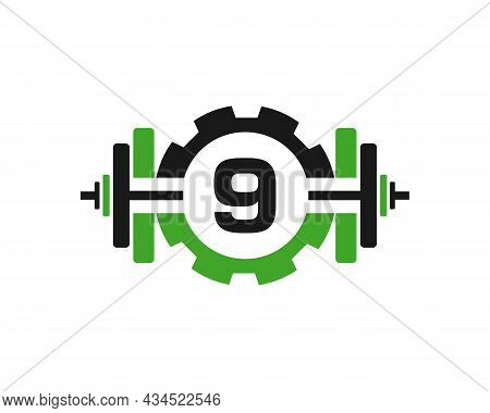 Fitness Gym Logo On Letter 9. Fitness Club Icon With Exercising Equipment. Initial Alphabet Letter 9