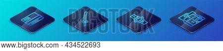 Set Isometric Line Wrist Watch, Credit Card, Futuristic Sliding Doors And Katana Icon. Vector