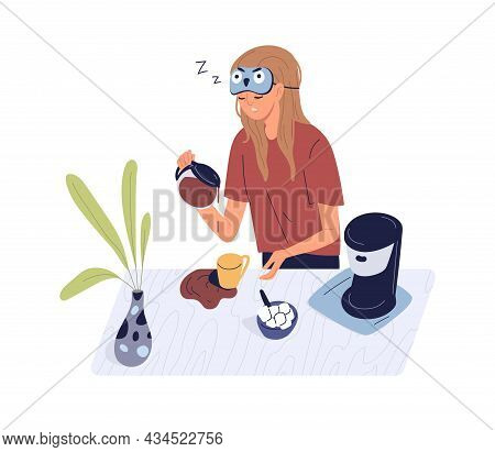 Sleepy Person With Spilled Coffee In Early Monday Morning. Drowsy Woman Waking Up And Pouring Coffe.