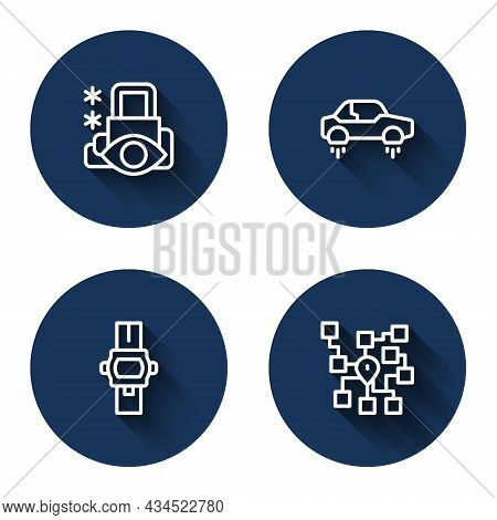 Set Line Cyber Security, Fantastic Flying Car, Wrist Watch And Neural Network With Long Shadow. Blue