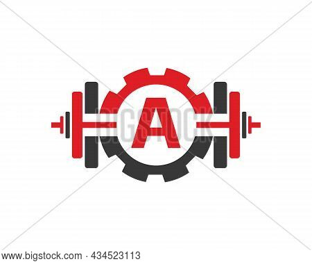 Fitness Gym Logo On Letter A. Fitness Club Icon With Exercising Equipment. Initial Alphabet Letter A