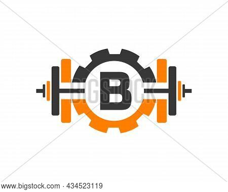 Fitness Gym Logo On Letter B. Fitness Club Icon With Exercising Equipment. Initial Alphabet Letter B