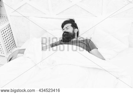Bearded Man Sleeping In Bed. Sleepy Guy Relax In Bedroom. Early Morning. Getting The Rest Your Body