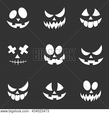 Scary And Funny Faces Of Halloween Pumpkin Or Ghost. Vector Collection. Halloween Masks. Smiling Fac