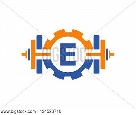 Fitness Gym Logo On Letter E. Fitness Club Icon With Exercising Equipment. Initial Alphabet Letter E