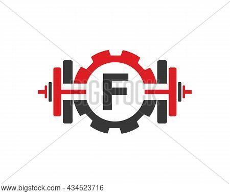 Fitness Gym Logo On Letter F. Fitness Club Icon With Exercising Equipment. Initial Alphabet Letter F