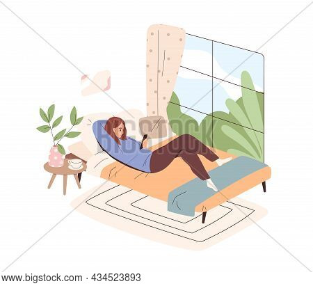 Woman Lying In Bed With Mobile Phone. Person Relaxing At Home, Using Smartphones And Social Media. F