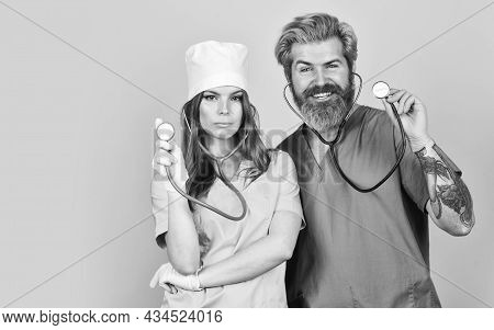 Nurse And Doctor. Woman And Man Work At Hospital. Private Clinic. Medical Treatment. Medical Workers