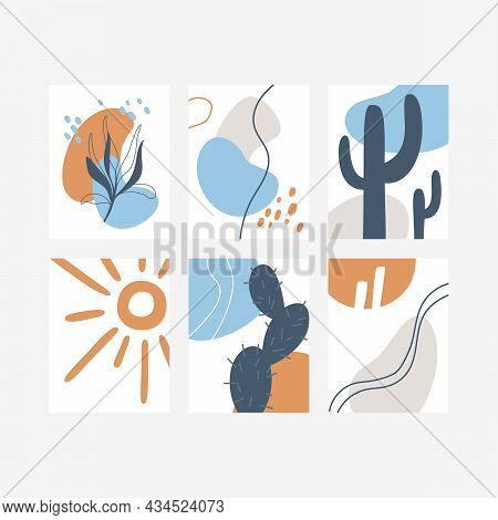 Set Of Minimalistic Abstract Posters. Posters With Decorative Branch, Sun, Cactus And Abstract Color