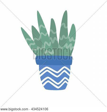 Hand Drawn Cute Aloe Vera Plant Growing In Blue Pot. Aloe In Pot. Houseplant Flower Pot Vector Illus
