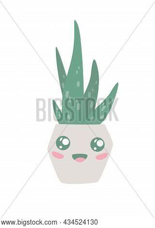 Hand Drawn Cute Aloe Vera Plant Growing In Pot. Kawaii Aloe In Pot. Houseplant Flower Pot Vector Ill