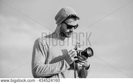 Allow A Look Into The Future. Sexy Man Touristic Reporter. Capture Adventure. Journalist. Macho Man