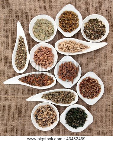 Medicinal herb selection also used in magical potions over hessian background. poster