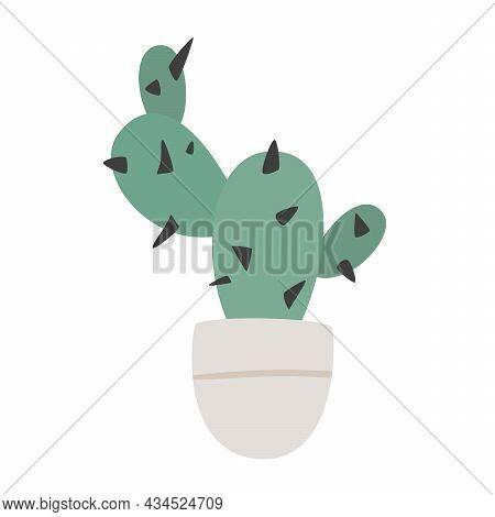 Hand Drawn Cute Cactus Plant Growing In Pot. Cactus In Pot. Houseplant Flower Pot Vector Illustratio