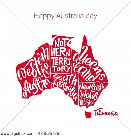 Happy Australia Day. Silhouette Of The Map Of Australia With Hand-written Names Of States