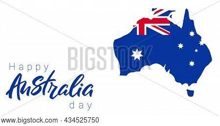 Happy Australia Day Banner. Map Of Australia With Flag.