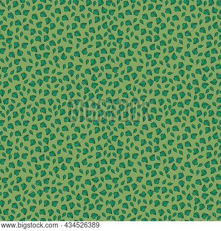 Pattern With Leaves Of Nature. Tea Time. Background With Mint Tea Leaves. Texture Herbal Tea Drink F