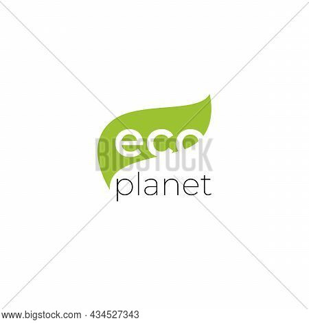 Eco Planet Logo With Green Leaves. Natural, Eco. Natural Badge For Green Company.