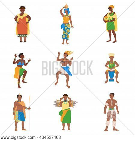 Set Of African Tribes People In Traditional National Clothes Vector Illustration