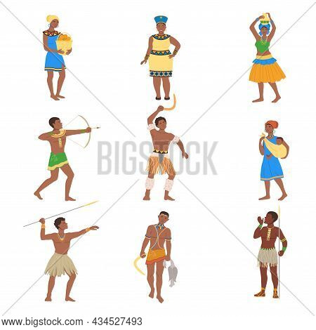 Set Of African People In Traditional National Clothes. Men And Women From African Tribes Vector Illu