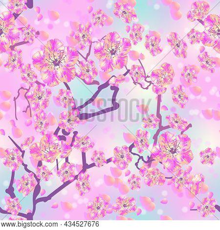 Seamless Spring Floral Pattern. Pink Yellow Flowers Like Sakura Or Peach, Tree Branches, Flying Peta