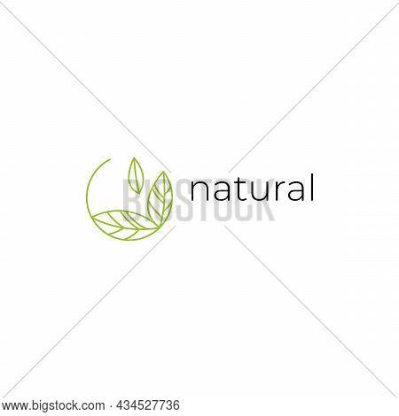 Natural Logo With Green Leaves. Natural, Eco. Natural Badge For Green Company. Vector Minimalistic L