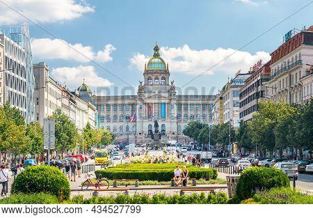 Prague, Czech Republic - 08 13 2021: Wenceslas Square In Prague, View Of The National Museum, Prague