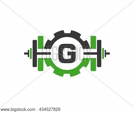 Fitness Gym Logo On Letter G. Fitness Club Icon With Exercising Equipment. Initial Alphabet Letter G