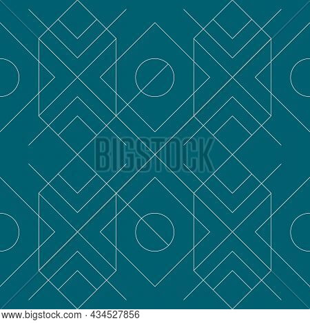 Seamless Geometric Pattern On Green Background. Vector Seamless Pattern. Geometric Background With R