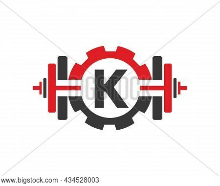 Fitness Gym Logo On Letter K. Fitness Club Icon With Exercising Equipment. Initial Alphabet Letter K
