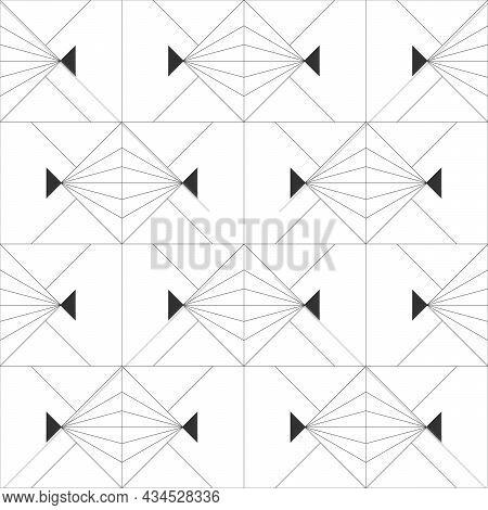 Seamless Geometric Pattern. Dark Background. Vector Seamless Pattern. Geometric Background With Rhom