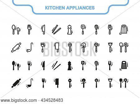 Simple Vector Icon Set. Kitchen Appliances Line Collection: Knife, Spoon, Whisk, Grater, Shovel, Piz