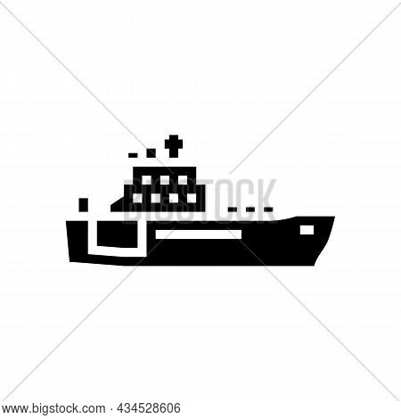 Navy Boat Glyph Icon Vector. Navy Boat Sign. Isolated Contour Symbol Black Illustration