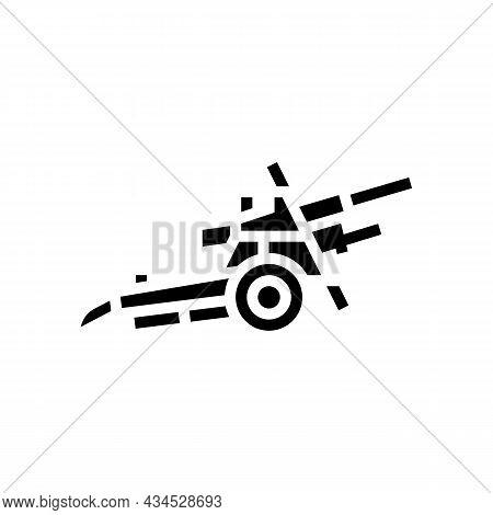 Artillery War Weapon Glyph Icon Vector. Artillery War Weapon Sign. Isolated Contour Symbol Black Ill