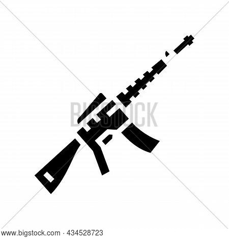 Rifle Weapon Glyph Icon Vector. Rifle Weapon Sign. Isolated Contour Symbol Black Illustration