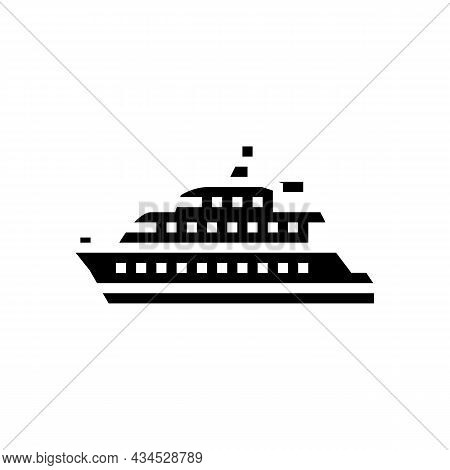 Motor Yacht Boat Glyph Icon Vector. Motor Yacht Boat Sign. Isolated Contour Symbol Black Illustratio