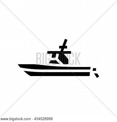 Center Console Boat Glyph Icon Vector. Center Console Boat Sign. Isolated Contour Symbol Black Illus
