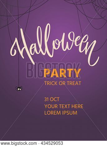 Halloween Poster With Hand-written Lettering. Calligraphy Of