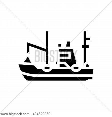 Fishing Boat Glyph Icon Vector. Fishing Boat Sign. Isolated Contour Symbol Black Illustration