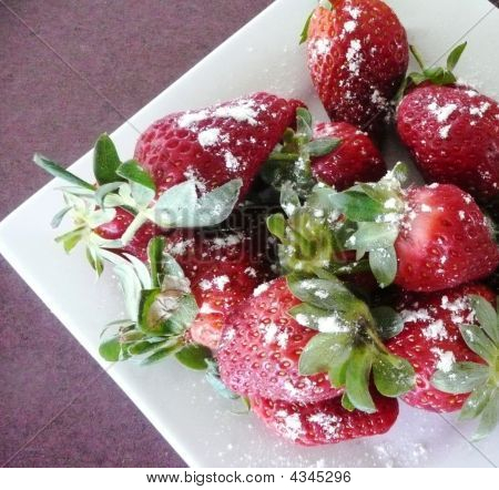 Strawberries With Icing Sugar Sprinkled Over
