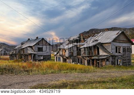 Abandoned Wooden Houses In Teriberka Village In The Harsh Northern Territory Of Russia