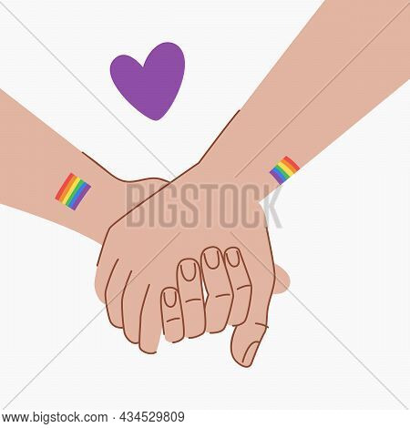 Lgbt Couple Are Holding Hands. Lgbt Love Concept. Hands With Lgbt Flags Tattoos. Hold Hands. Purple